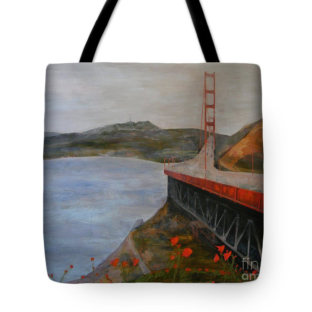 Golden Gate Bridge Tote Bag featuring the painting Golden Gate Bridge by Ellen Beauregard