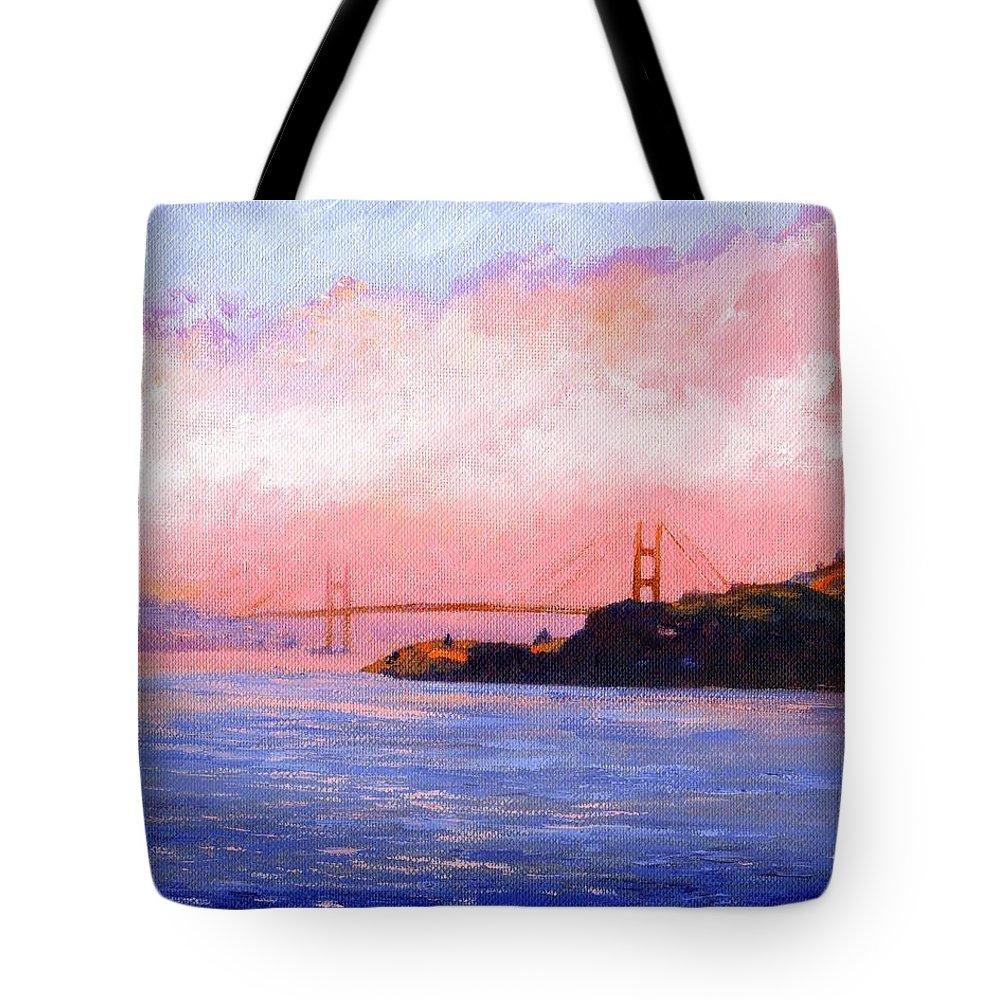 Landscape Tote Bag featuring the painting Golden Gate Bridge by Frank Wilson