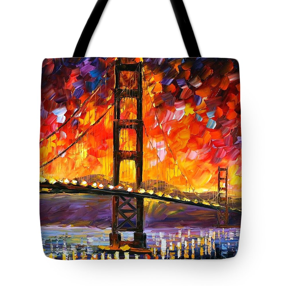 City Tote Bag featuring the painting Golden Gate Bridge by Leonid Afremov