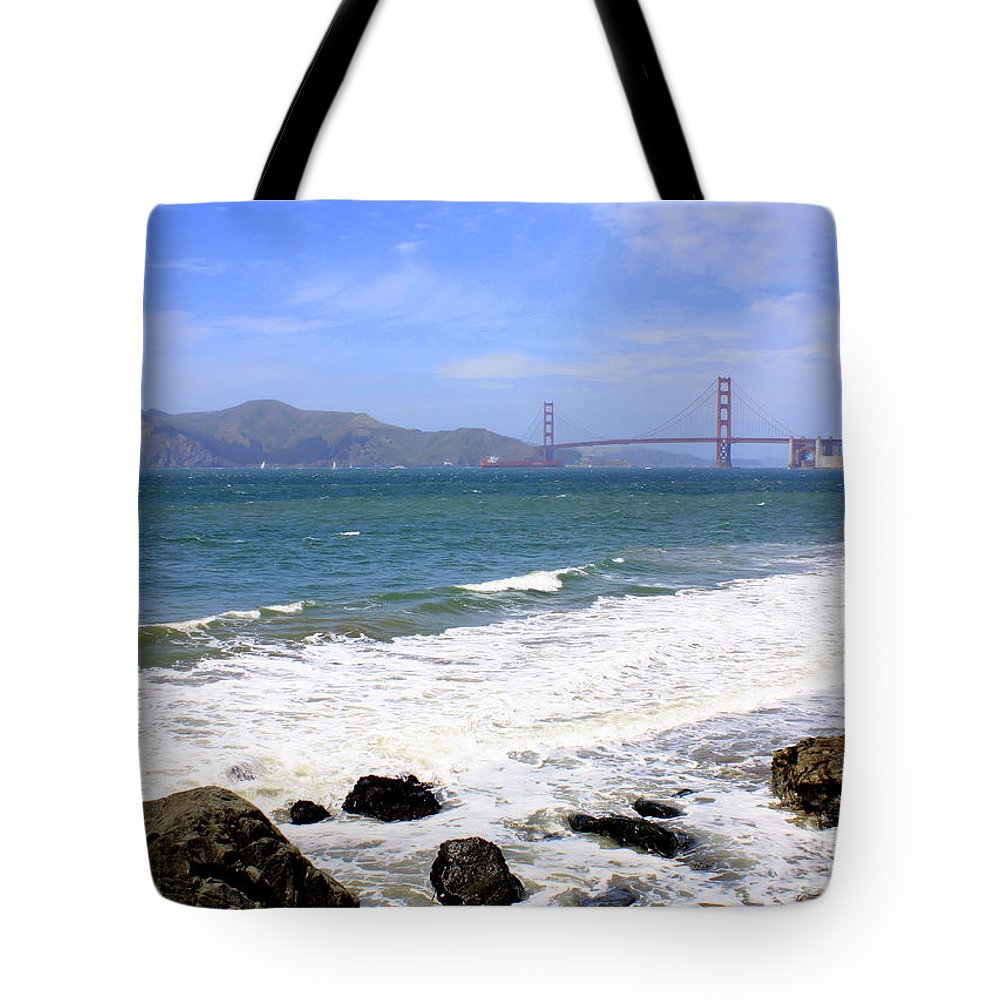 Tote Bag featuring the photograph Golden Gate Bridge With Rocky Beach by Carol Groenen