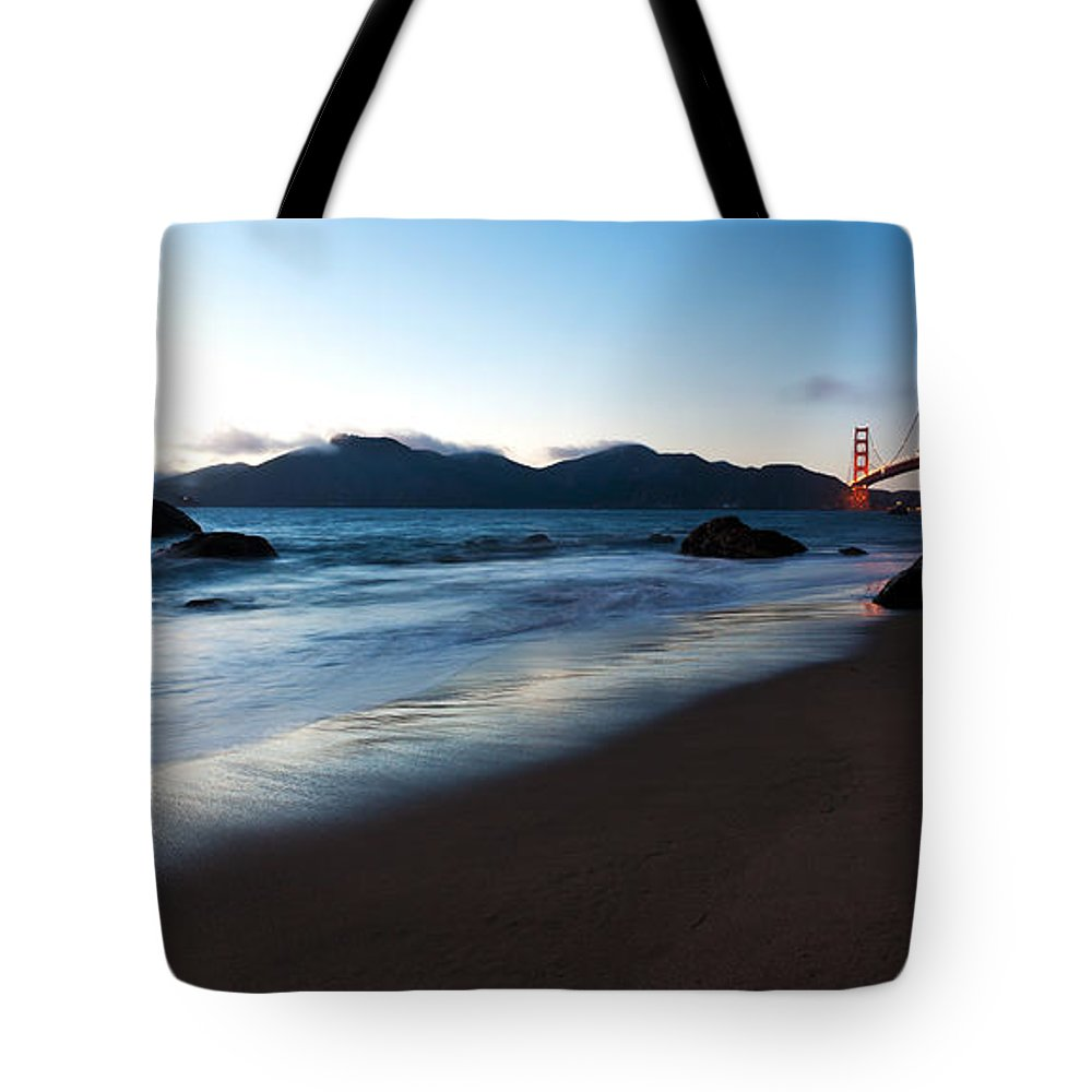 Golden Gate Tote Bag featuring the photograph Golden Gate Tranquility by Mike Reid