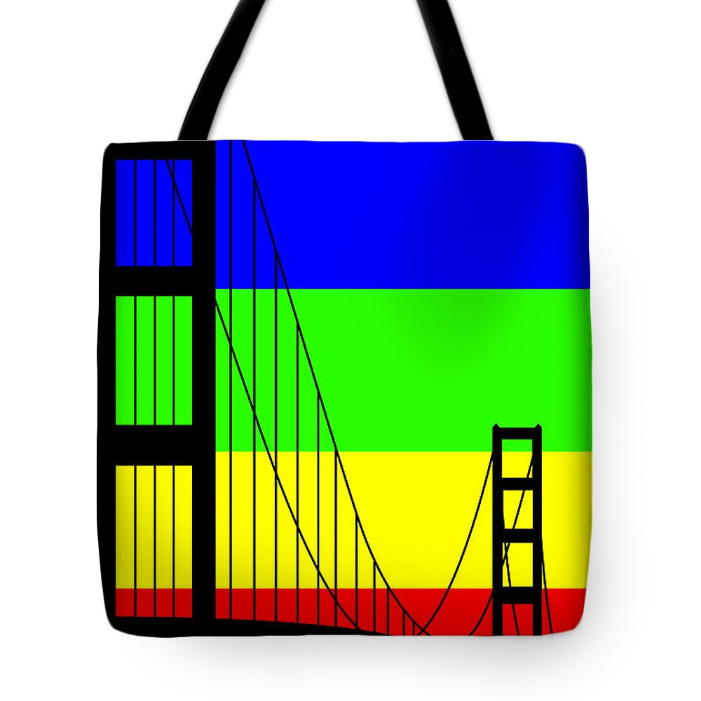 Golden Gate Tote Bag featuring the digital art Golden Gay by Asbjorn Lonvig
