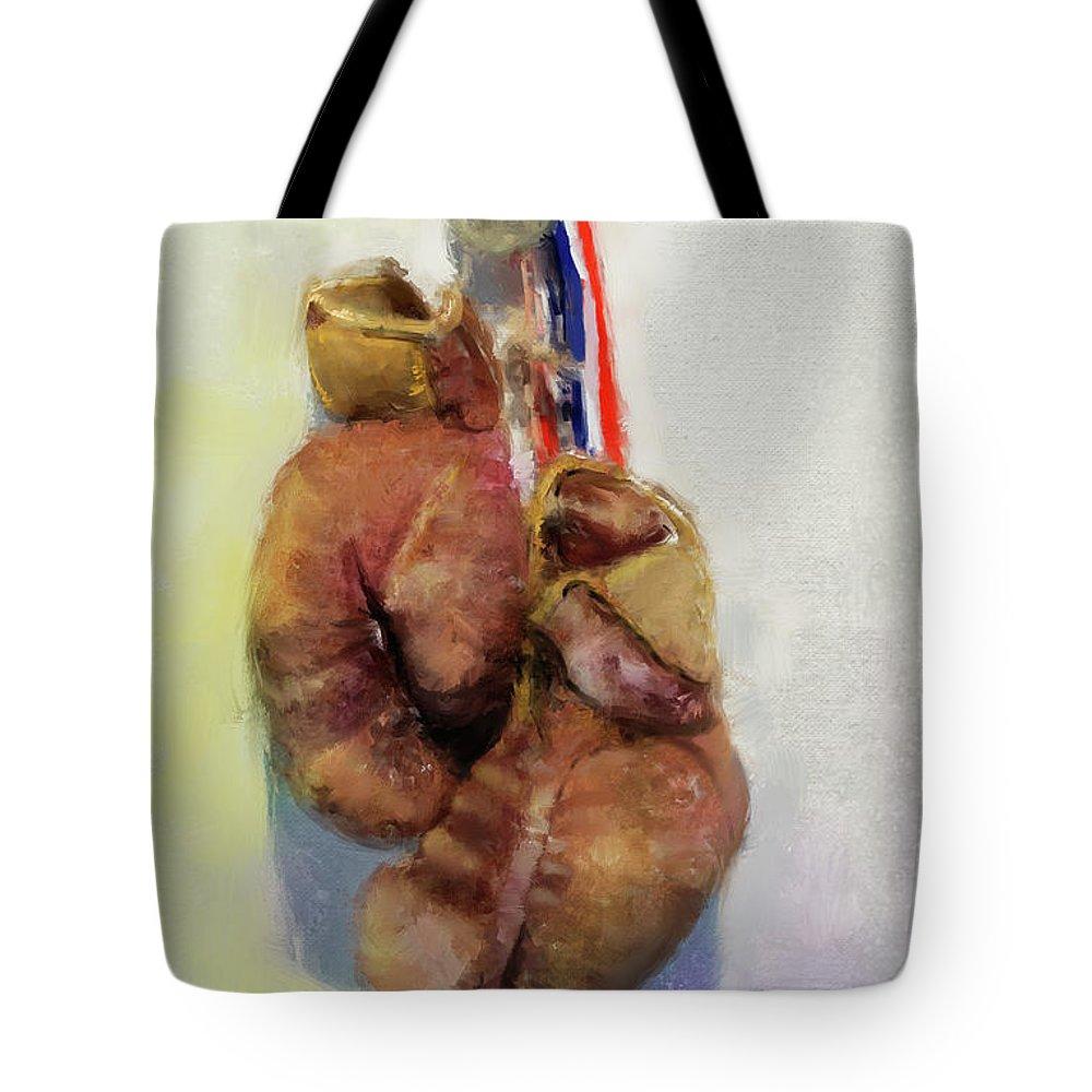 Dwayne Glapion Tote Bag featuring the digital art Golden Gloves by Dwayne Glapion