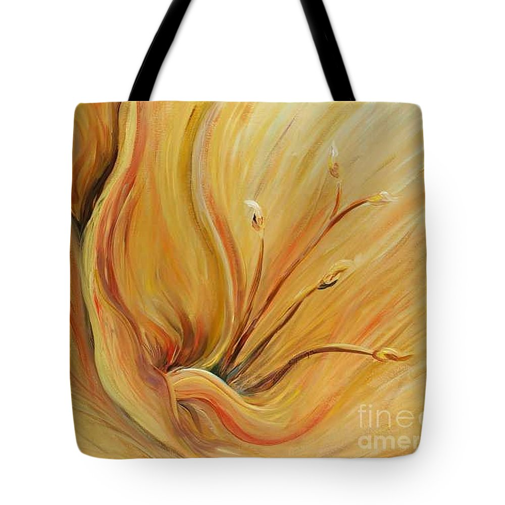 Gold Tote Bag featuring the painting Golden Glow by Nadine Rippelmeyer