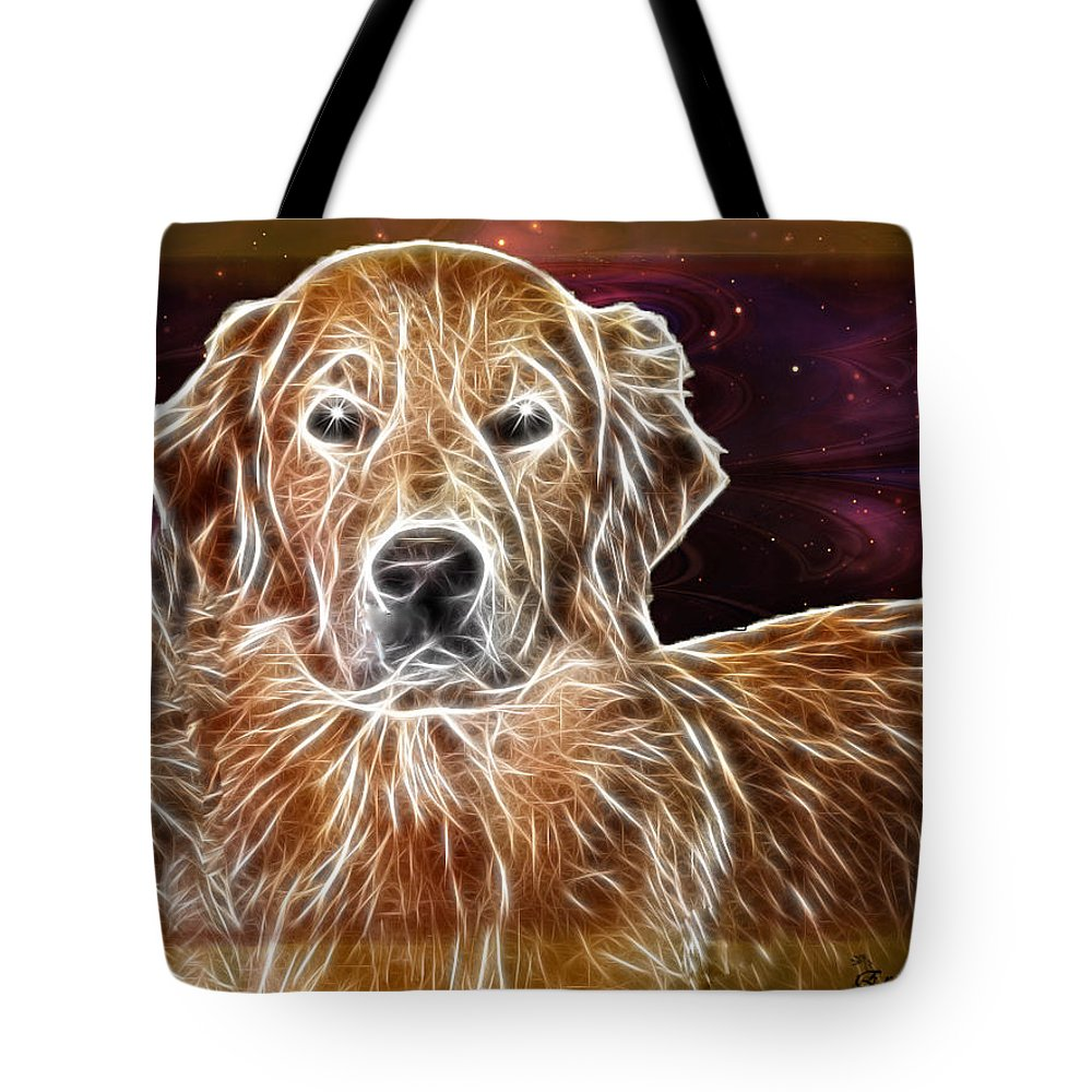 Dog Tote Bag featuring the photograph Golden Glowing Retriever by Ericamaxine Price