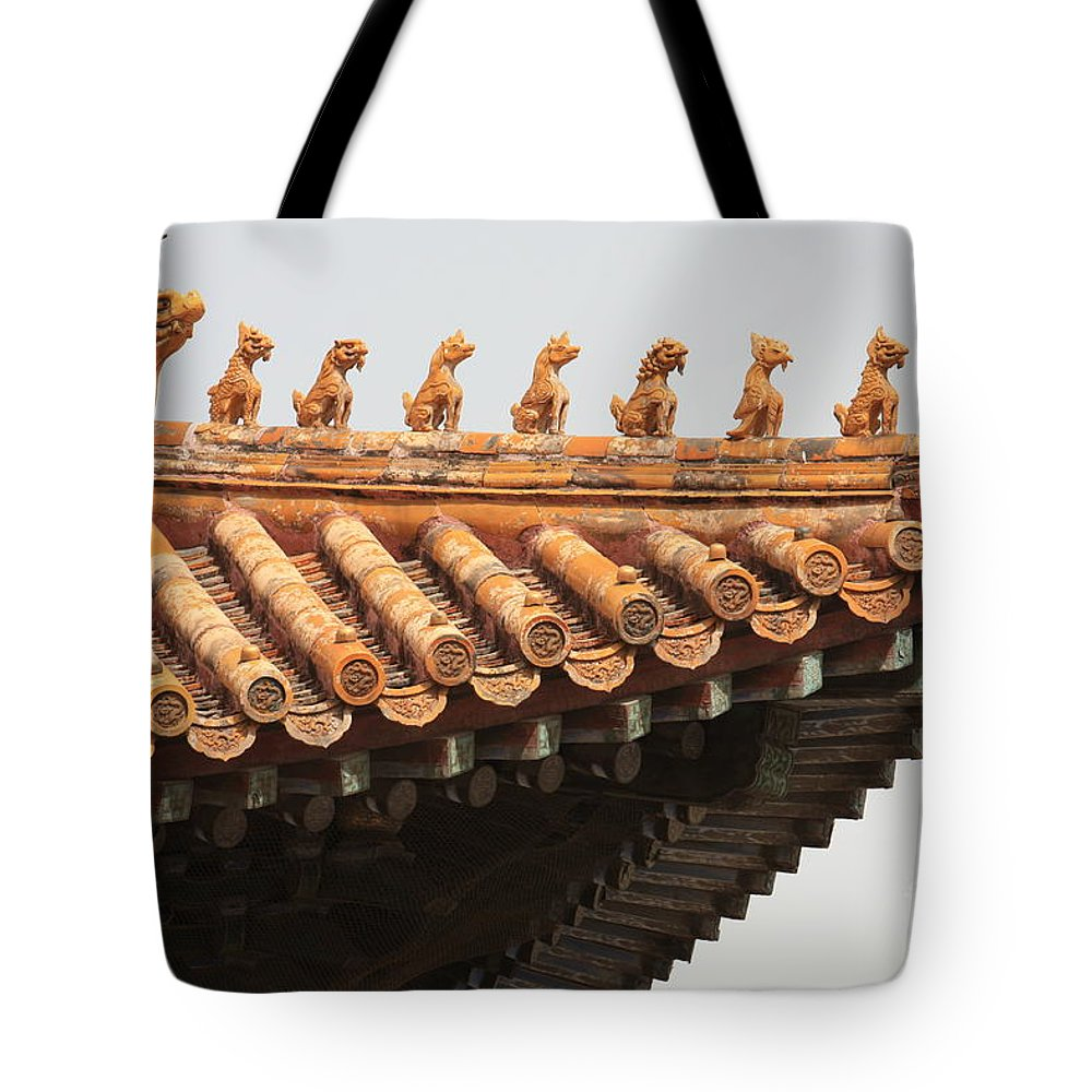 China Tote Bag featuring the photograph Golden Guardians Of The Forbidden City by Carol Groenen