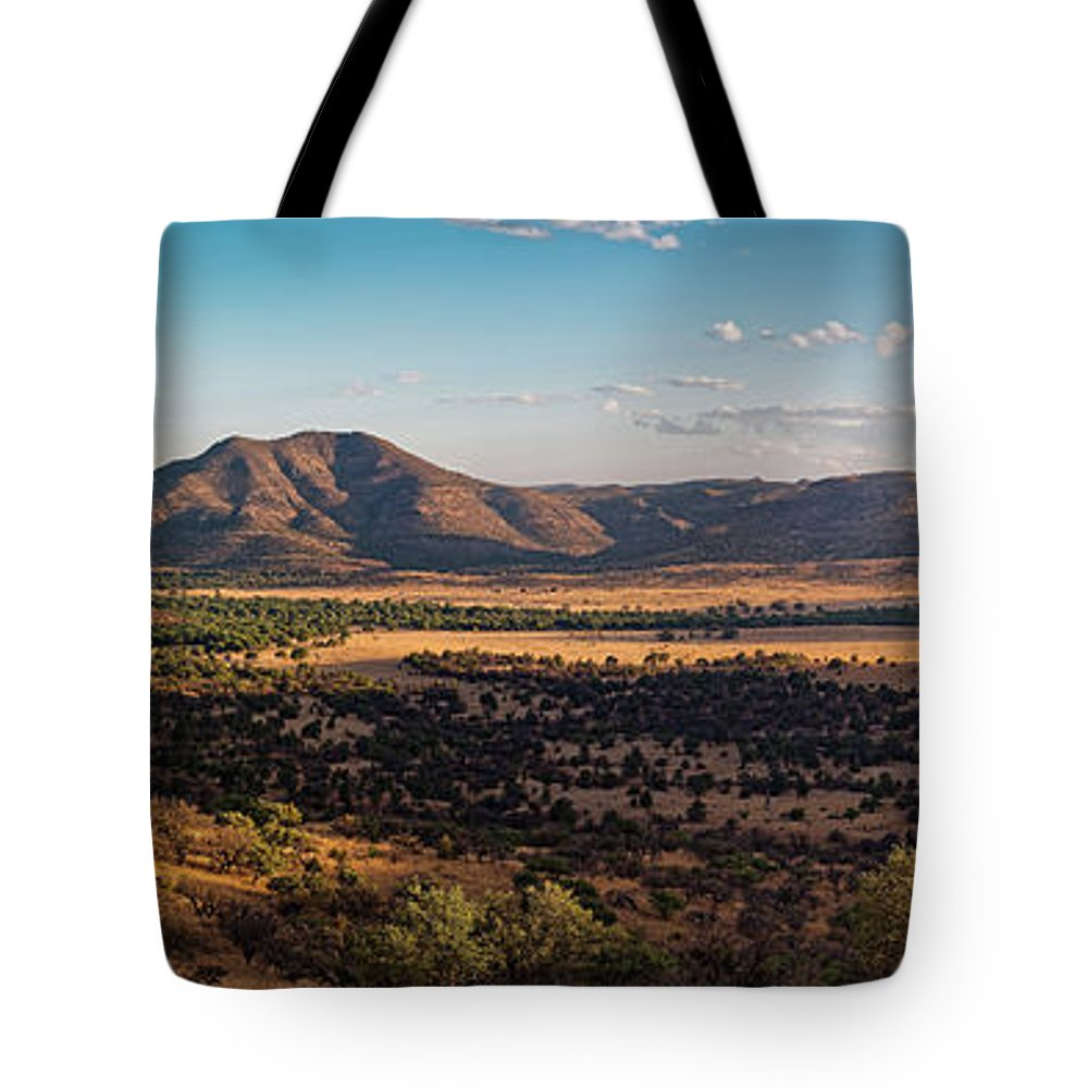 Davis Mountains Tote Bag featuring the photograph Golden Hour Panorama Of Davis Mountains - Blue And Paradise Mountain And Mount Livermore West Texas by Silvio Ligutti