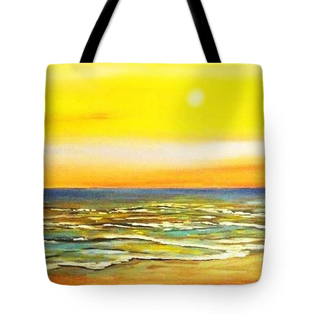 Ocean Tote Bag featuring the painting Sunset Beach by Dawn Hawkins
