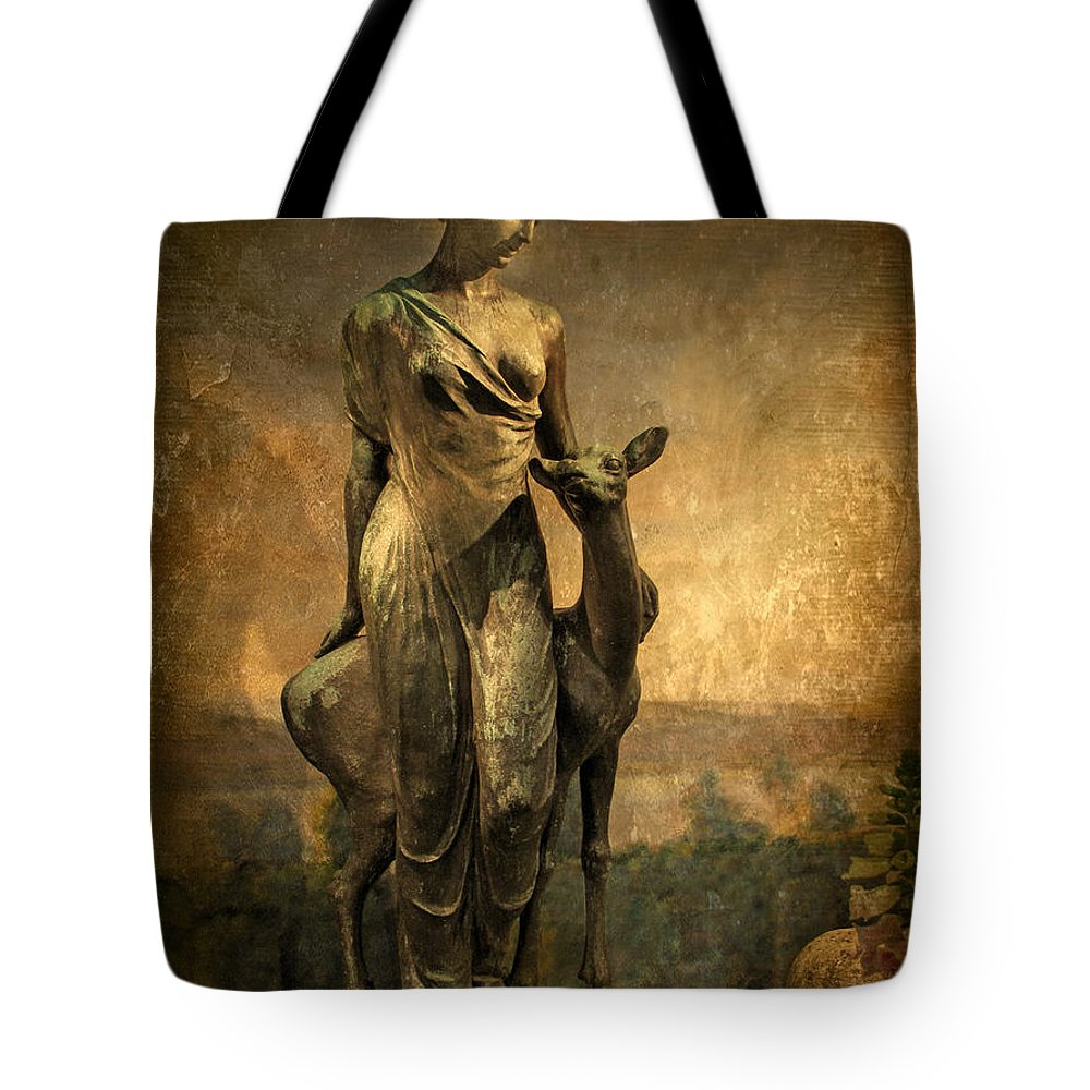 Statue Tote Bag featuring the photograph Golden Lady by Jessica Jenney