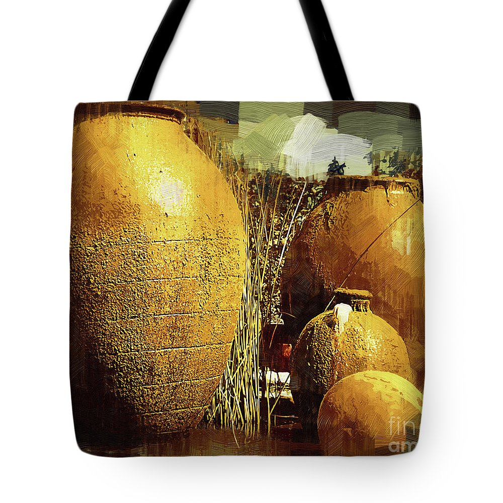 Garden; Fountain; Urns; Pots; Courtyard; Water Fountain; Wine Country; Napa; Northern California; Kirt Tisdale; Winery; Kuleta Estate; Spanish; Old World; Earthen Tote Bag featuring the digital art Golden Large Fountain Urns by Kirt Tisdale