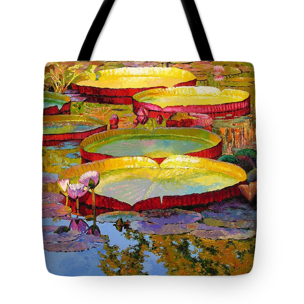Sunlight Tote Bag featuring the painting Golden Light on Pond by John Lautermilch