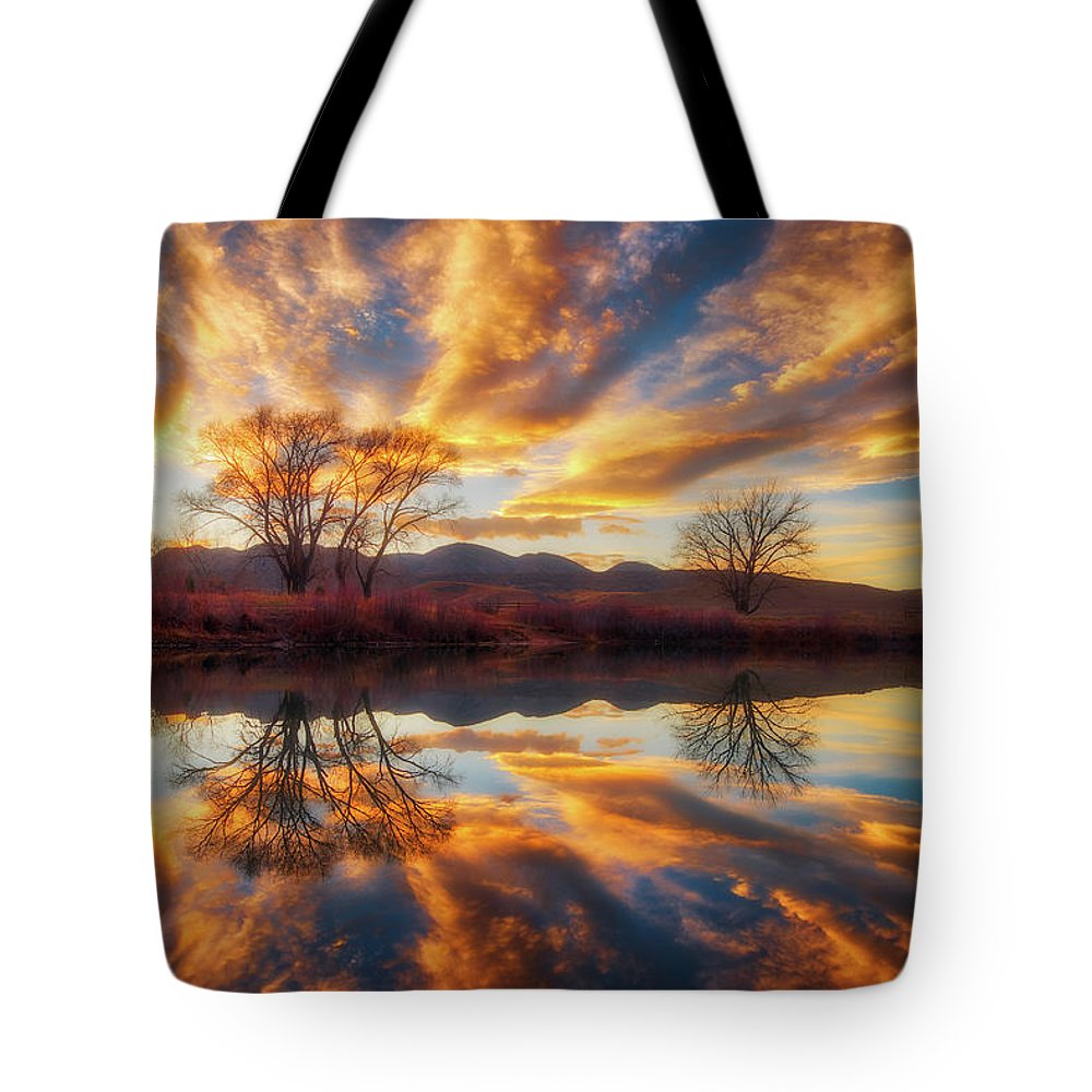 Colorado Tote Bag featuring the photograph Golden Light On The Pond by Darren White