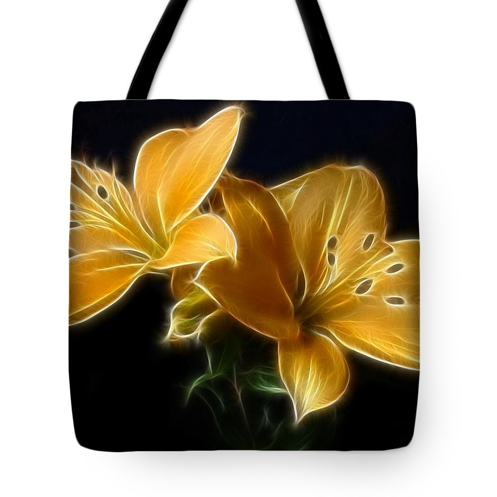 Lilies Tote Bag featuring the digital art Golden Lilies by Sandy Keeton