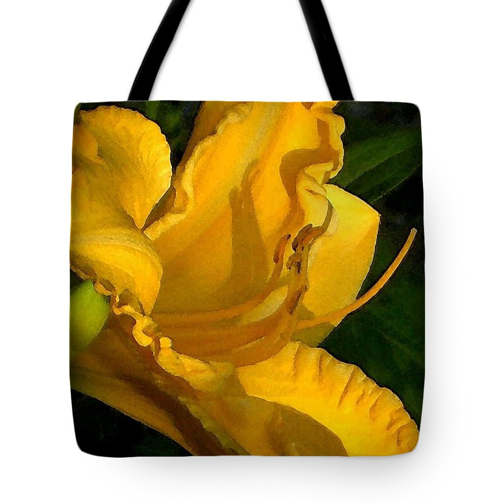 Gold Tote Bag featuring the photograph Golden Lily Watercolor by Carolyn Jacob