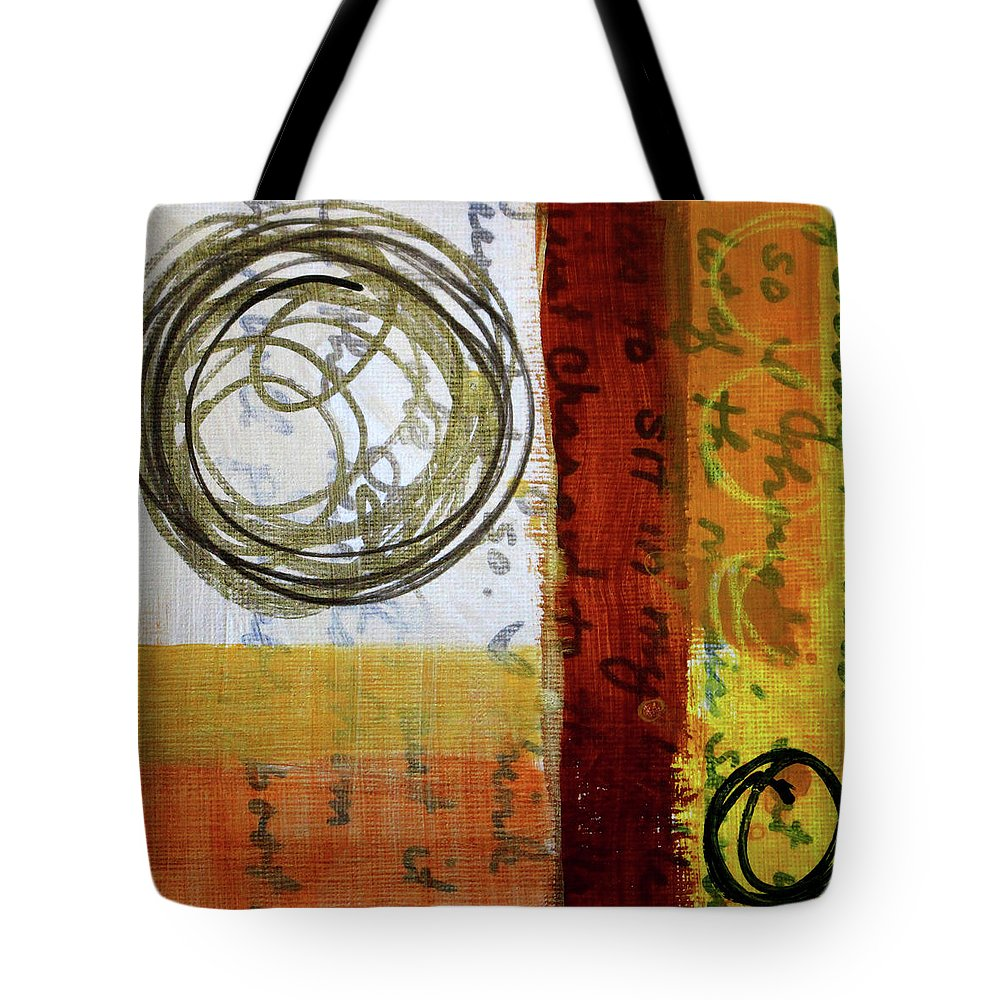 Golden Marks Abstract Painting Tote Bag featuring the painting Golden Marks 5 by Nancy Merkle