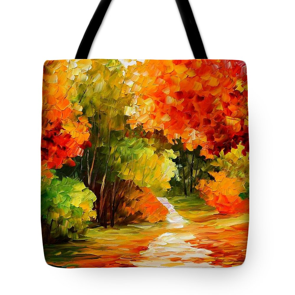Afremov Tote Bag featuring the painting Golden Morning by Leonid Afremov