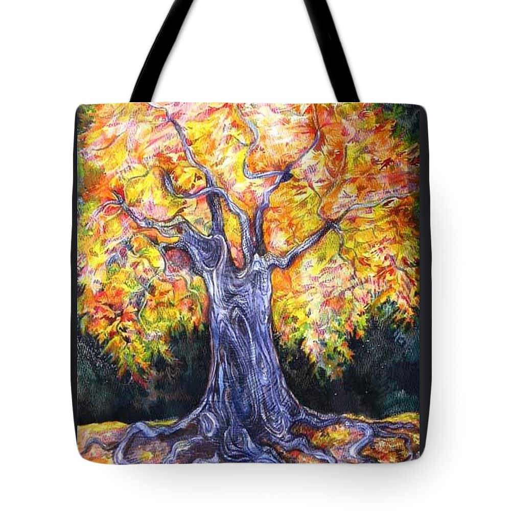 Landscape Tote Bag featuring the drawing Golden Oak by Anna Duyunova