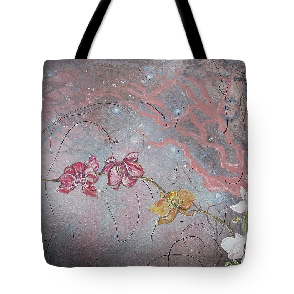 Golden Tote Bag featuring the painting Golden Orchid by Hasaan Kirkland