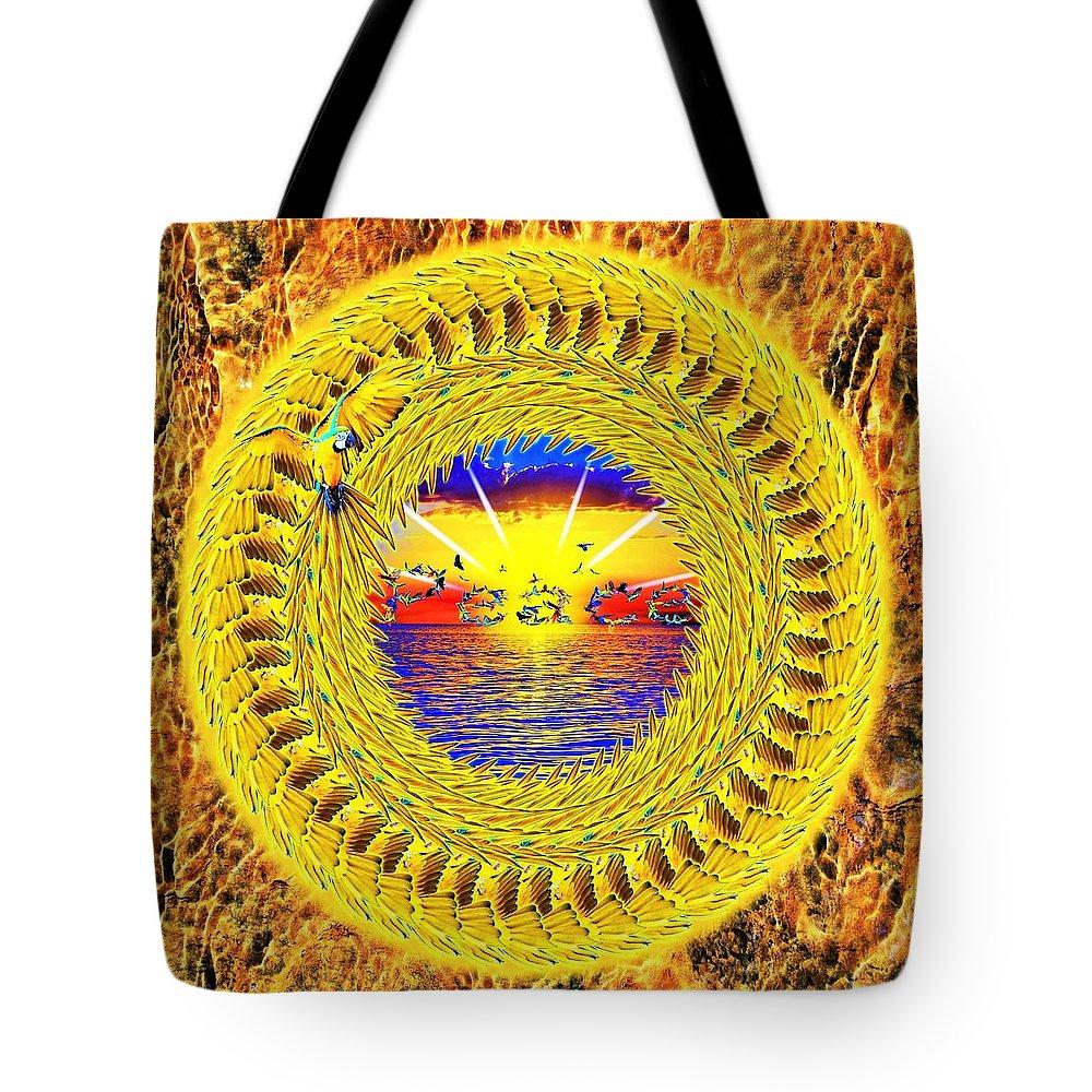 Golden Tote Bag featuring the digital art Golden Parrot Mandala by The Awakening Art
