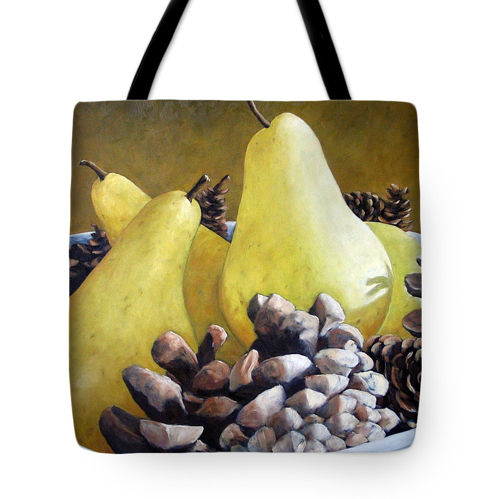 Canadian Tote Bag featuring the painting Golden Pears And Pine Cones by Richard T Pranke