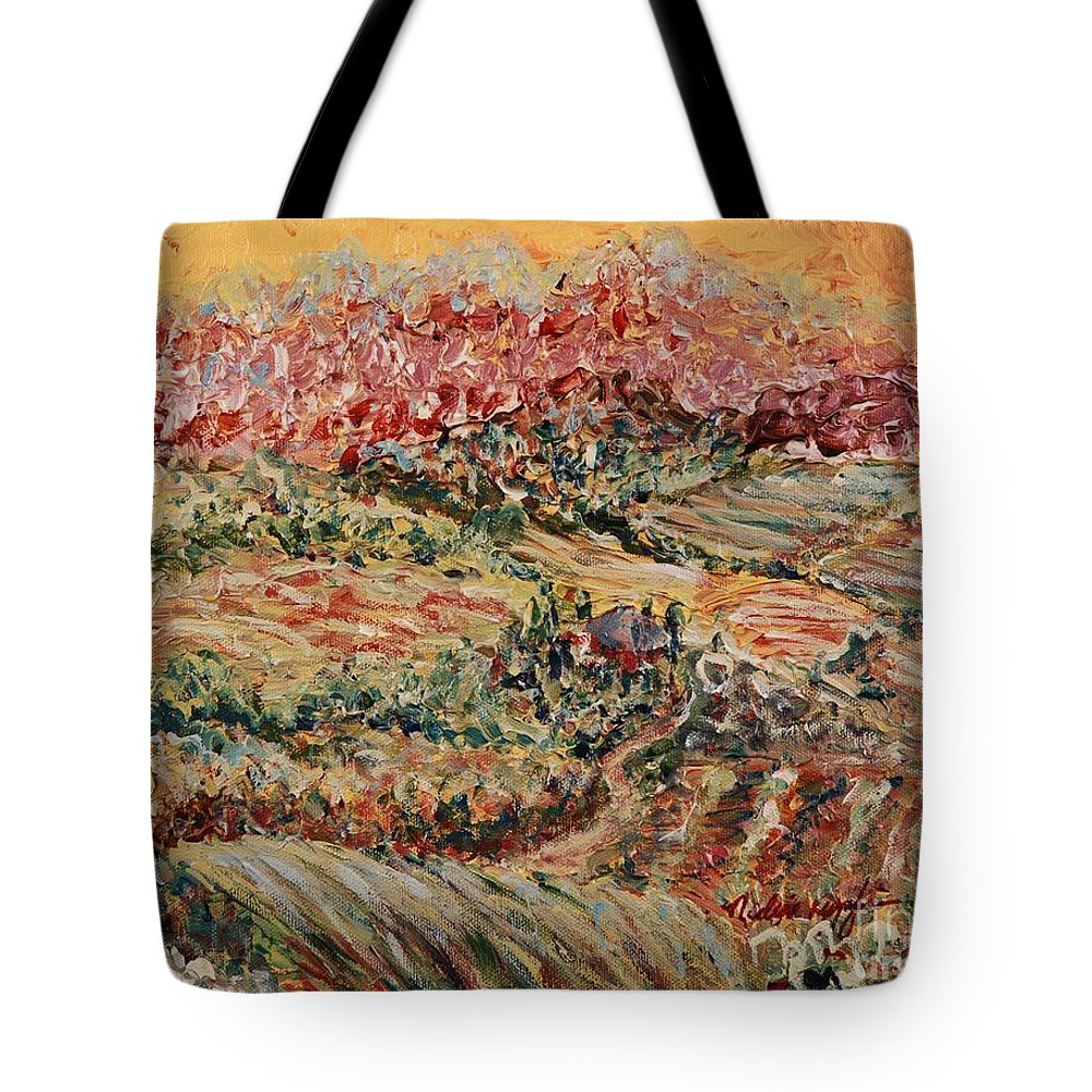 Provence Tote Bag featuring the painting Golden Provence by Nadine Rippelmeyer
