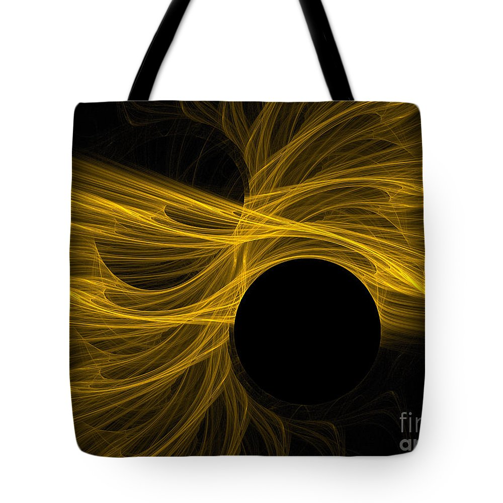 Gold Tote Bag featuring the digital art Golden Rays by Deborah Benoit