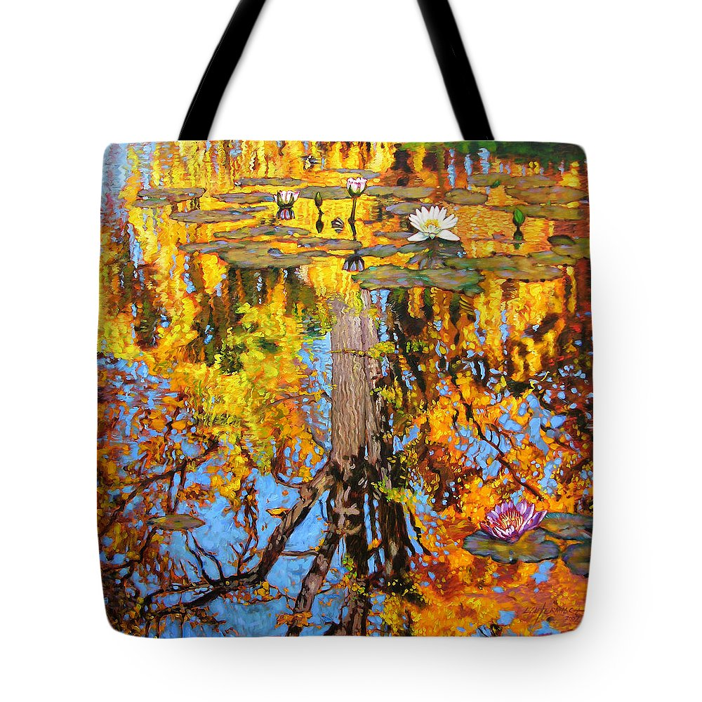 Landscape Tote Bag featuring the painting Golden Reflections On Lily Pond by John Lautermilch