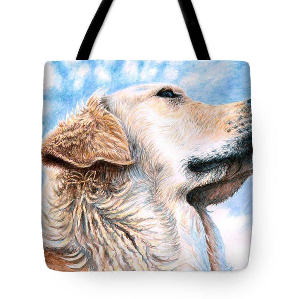 Dog Tote Bag featuring the painting Golden Retriever by Nicole Zeug