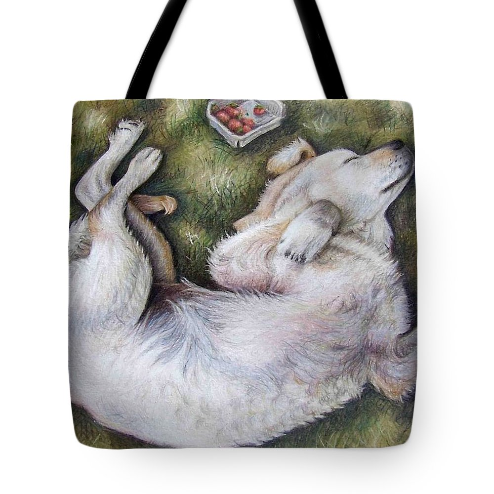 Dog Tote Bag featuring the pastel Golden Retriever Puppy by Nicole Zeug