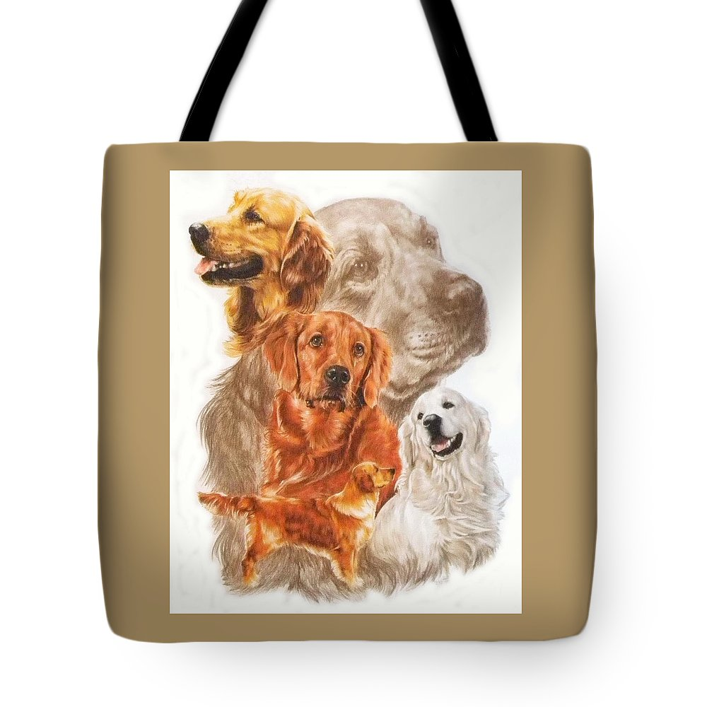 Retriever Tote Bag featuring the mixed media Golden Retriever W/ghost by Barbara Keith
