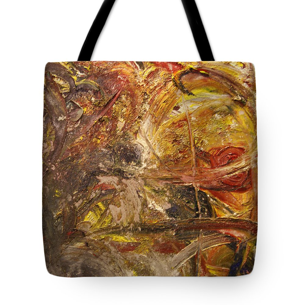 Abstract Expressionism Tote Bag featuring the painting Golden Reward by Helene Gross