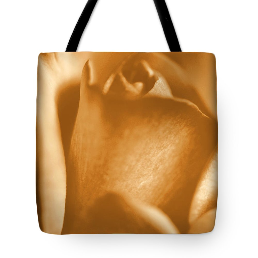 Rose Tote Bag featuring the photograph Golden Rose Bud by Amy Fose