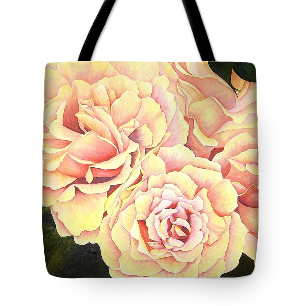 Roses Tote Bag featuring the painting Golden Roses by Rowena Finn