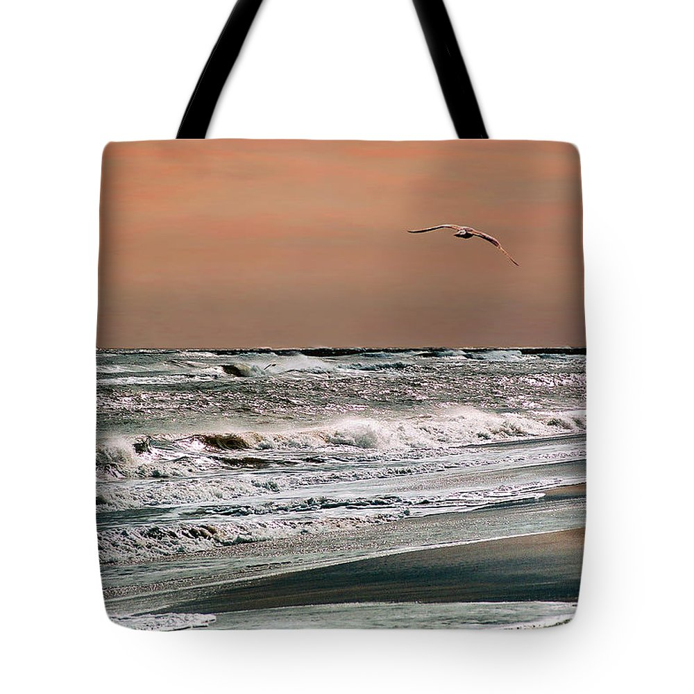 Seascape Tote Bag featuring the photograph Golden Shore by Steve Karol