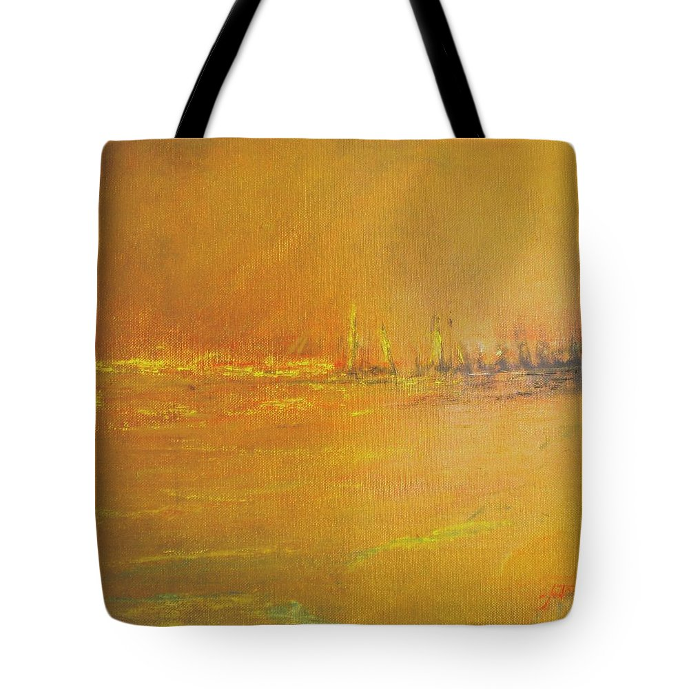 Ships Tote Bag featuring the painting Golden Sky by Jack Diamond