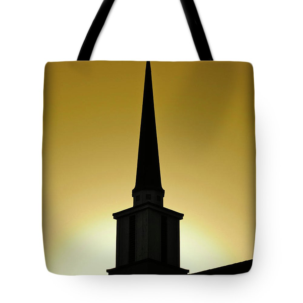 Cml Brown Tote Bag featuring the photograph Golden Sky Steeple by CML Brown