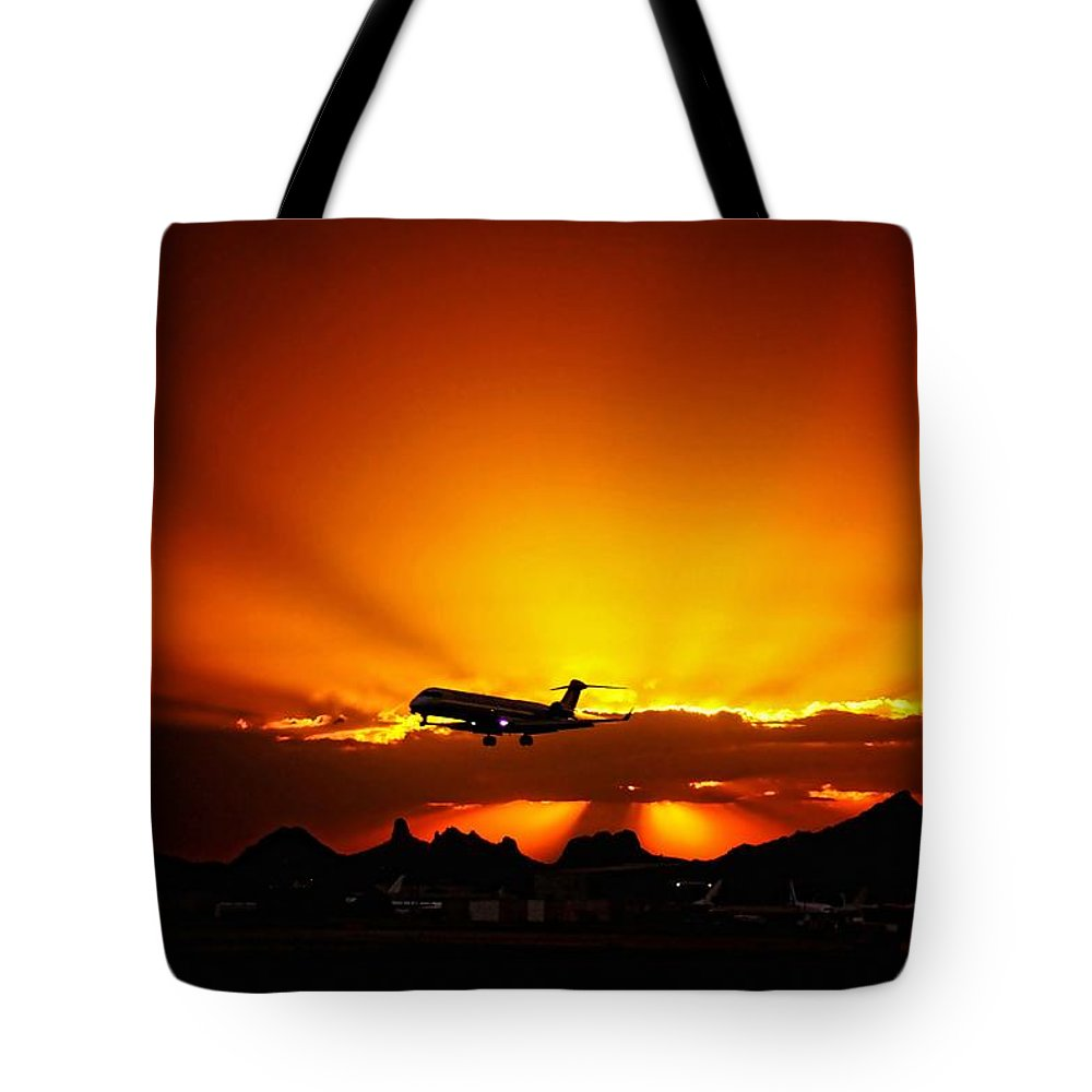 Tucson Tote Bag featuring the photograph Golden Skyway by Scott Kimble