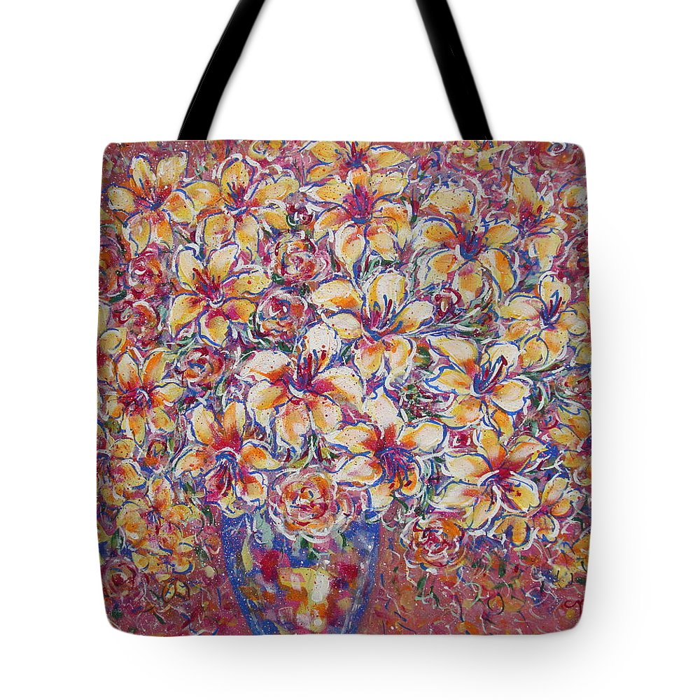 Lily Tote Bag featuring the painting Golden Splendor by Natalie Holland
