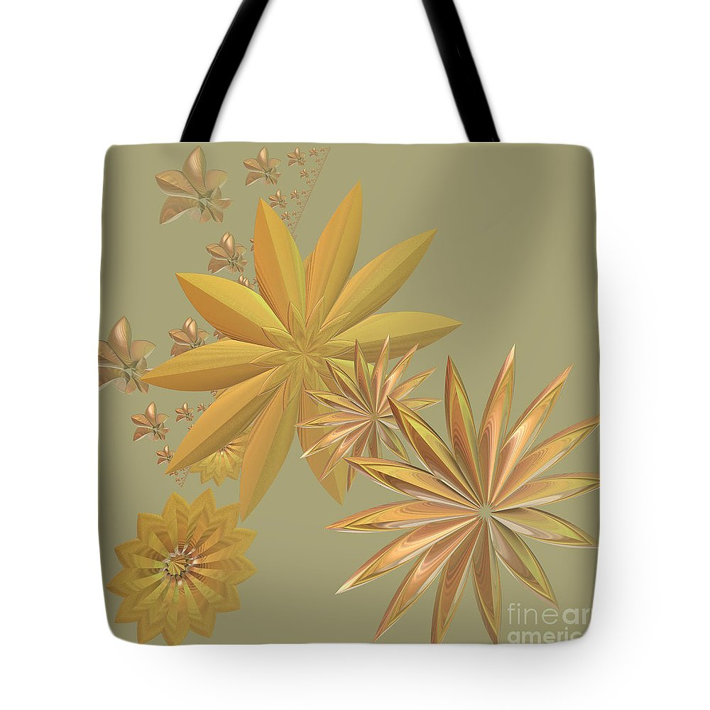 Stars Tote Bag featuring the digital art Golden Stars by Deborah Benoit
