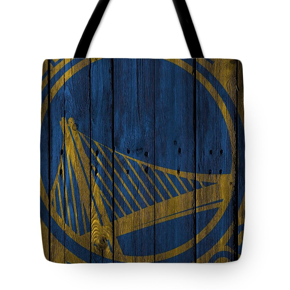 Warriors Tote Bag featuring the photograph Golden State Warriors Wood Fence by Joe Hamilton