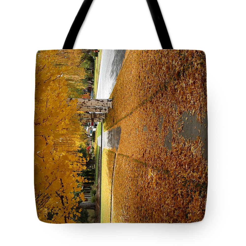 Yellow Tote Bag featuring the photograph Golden Streets by Sandy Henderson