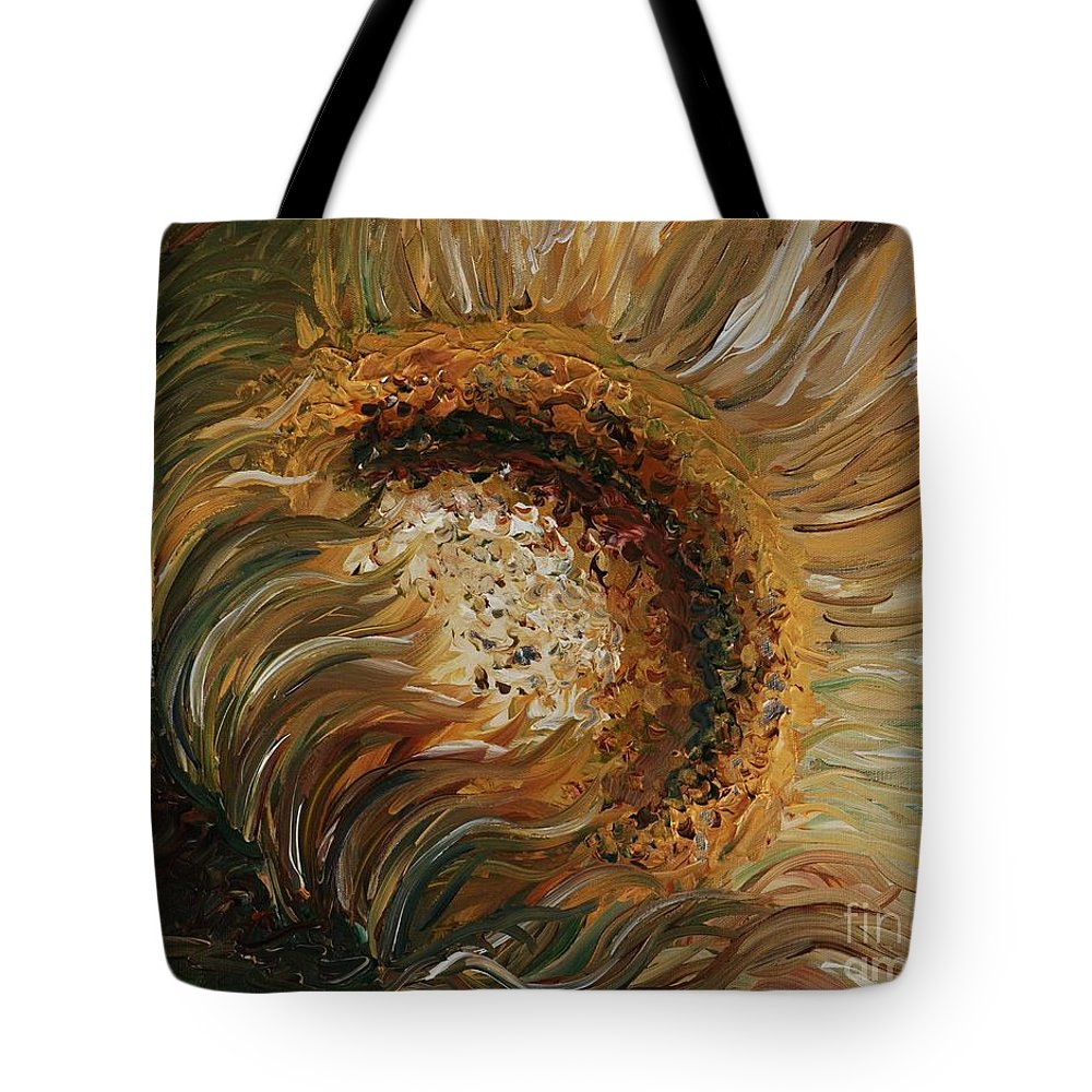 Sunflower Tote Bag featuring the painting Golden Sunflower by Nadine Rippelmeyer
