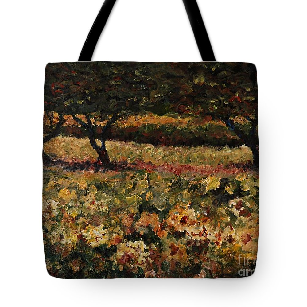 Landscape Tote Bag featuring the painting Golden Sunflowers by Nadine Rippelmeyer