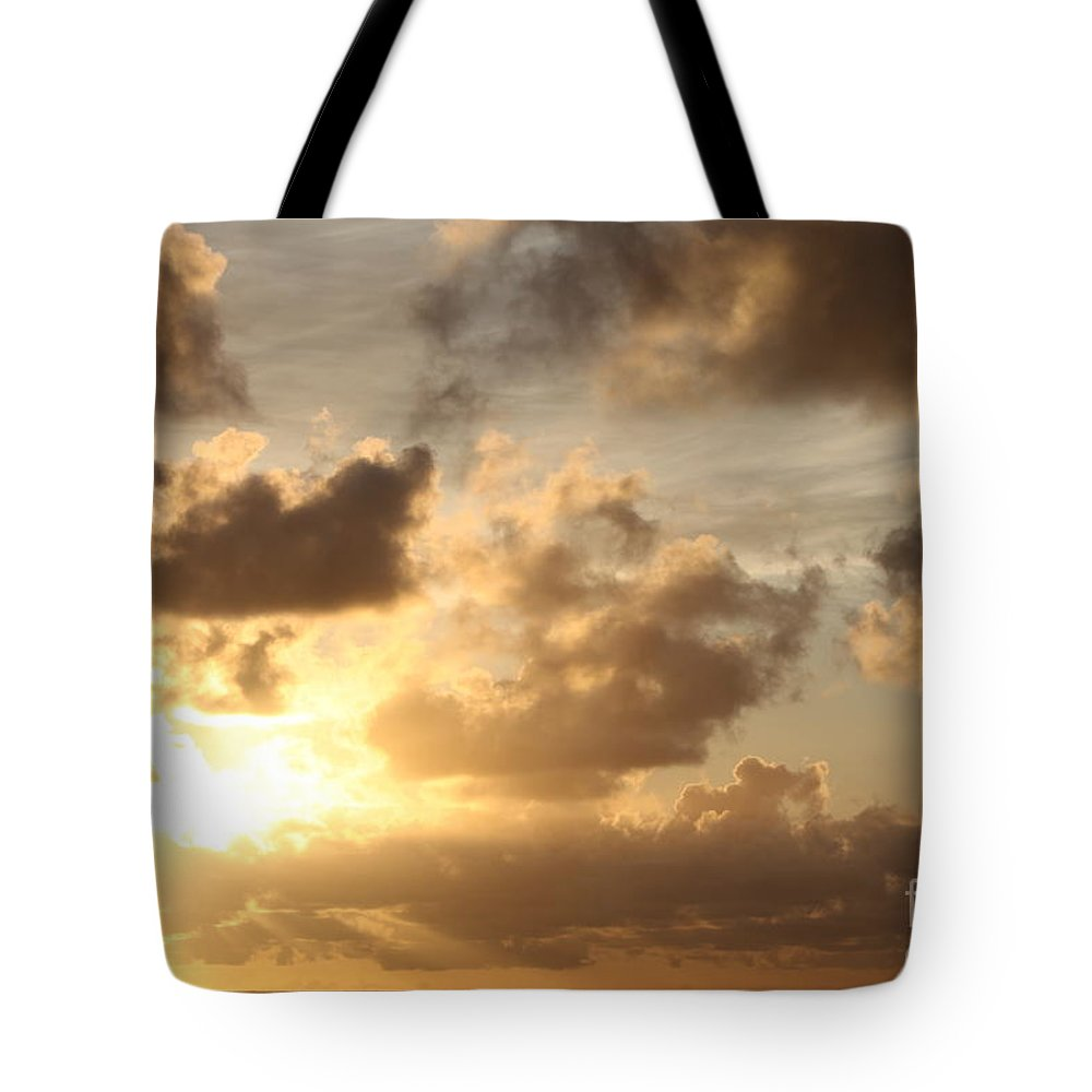 Sunrise Tote Bag featuring the photograph Golden Sunrise On Kauai by Nadine Rippelmeyer