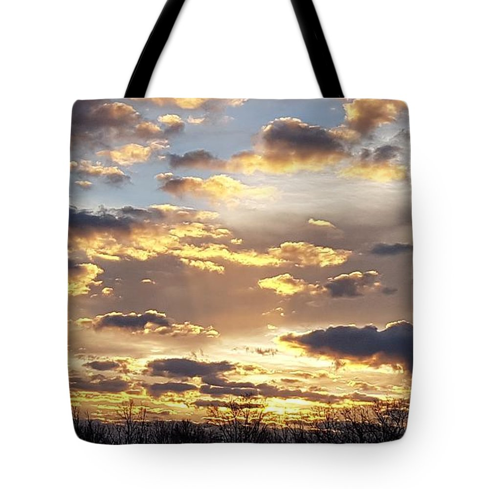 Sunrise Tote Bag featuring the photograph Golden Sunrise by T Mosko