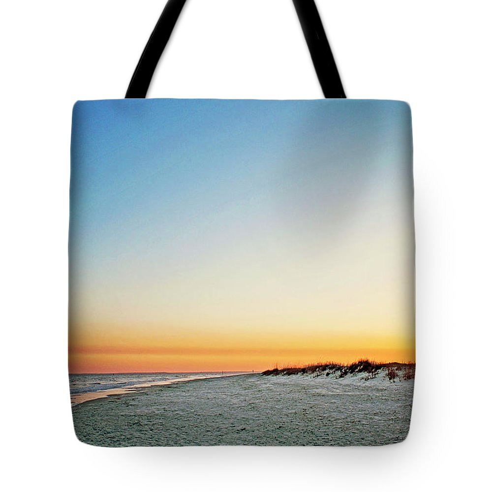 Destin Tote Bag featuring the photograph Golden Sunset At Destin by Micah Williams