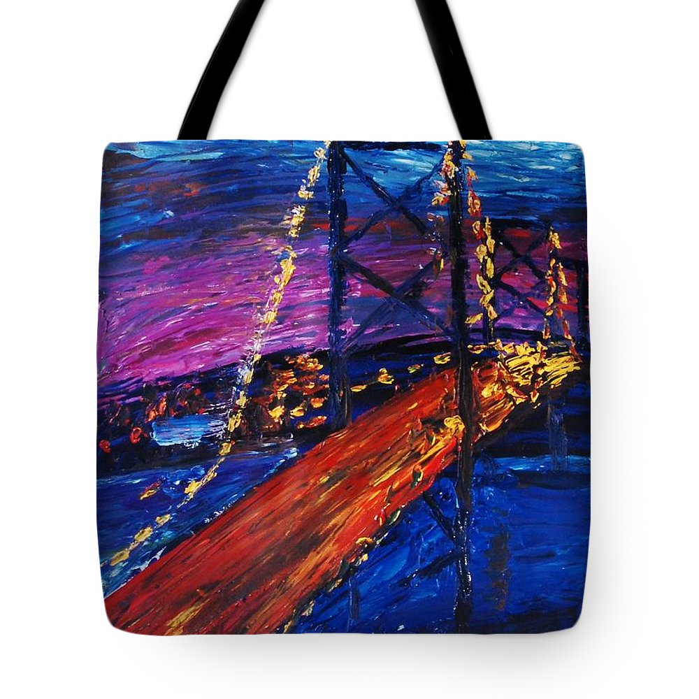 San Fransico Tote Bag featuring the painting Golden Sunset by Lauren Luna