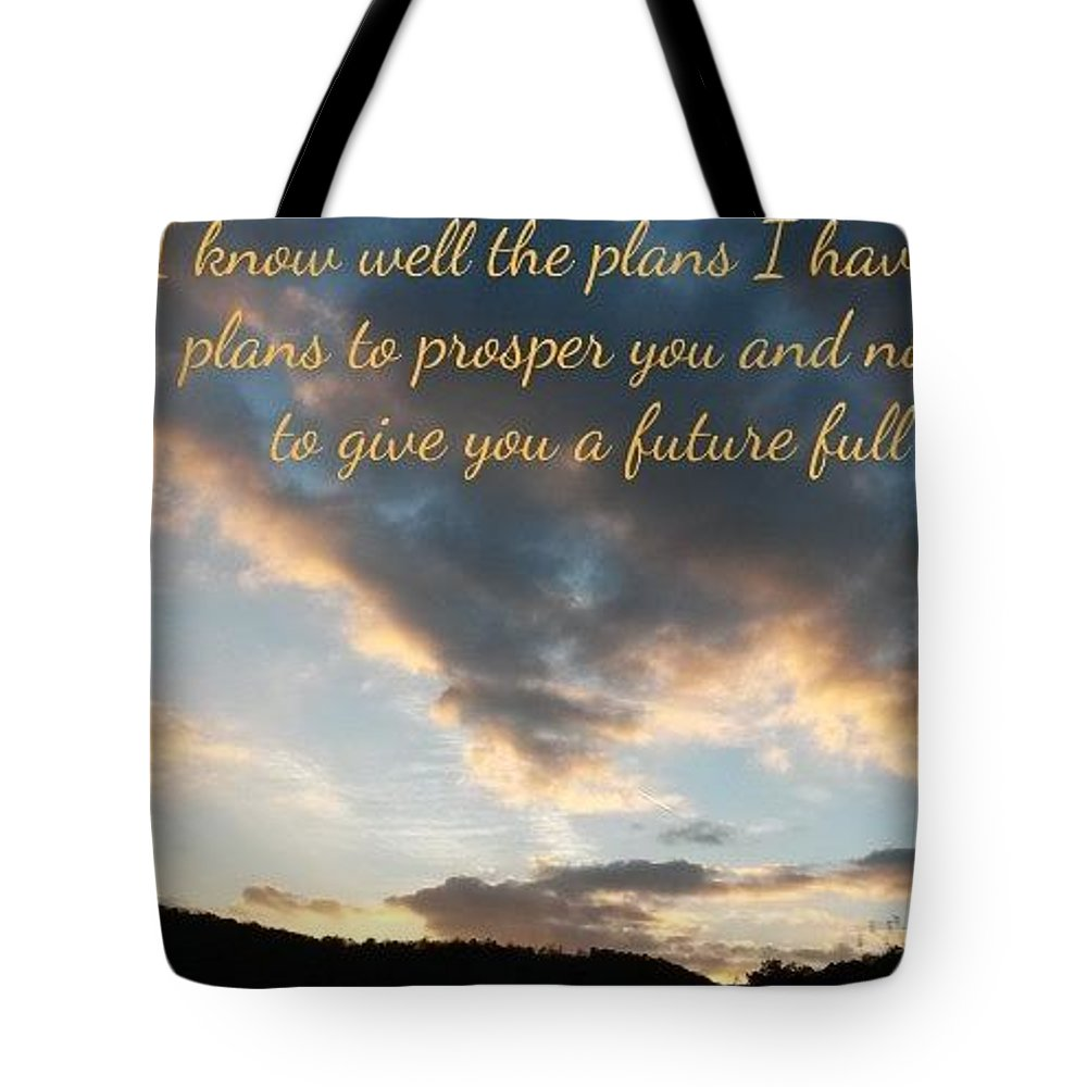 Sunset Clouds Tote Bag featuring the photograph Golden Sunset With Verse by T Mosko