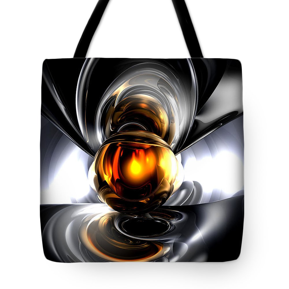 3d Tote Bag featuring the digital art Golden Tears Abstract by Alexander Butler