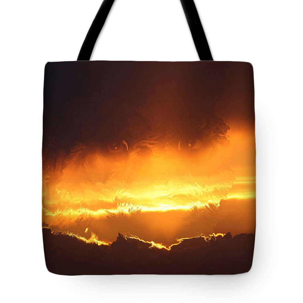Tiger Gold Sunset Sky Big Cat Wild Animal Scenery Beauty Eyes Hologram Illusion Sky Line Animals Tote Bag featuring the digital art Golden Tiger by Andrea Lawrence